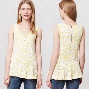 Anthropologie meadow rue lace peplum top